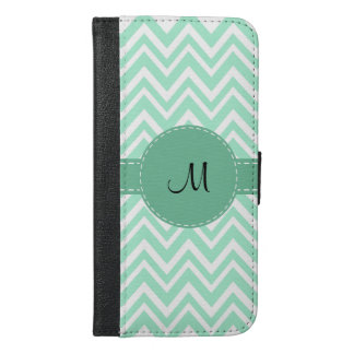 Monogram Light Mint Green and White Zigzag Pattern iPhone 6/6s Plus Wallet Case