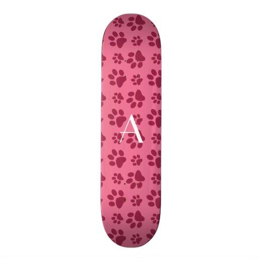 Monogram light pink dog paw prints skateboard deck