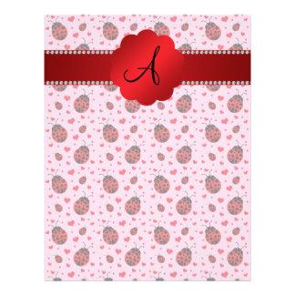 Monogram light pink ladybugs hearts 21.5 cm x 28 cm flyer