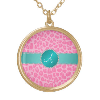 Monogram light pink leopard print turquoise circle pendants