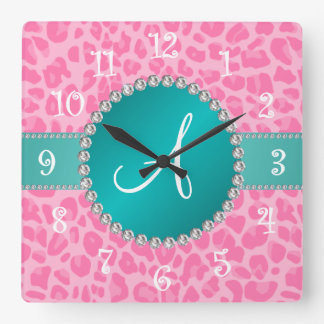 Monogram light pink leopard print turquoise circle square wall clock