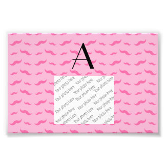 Monogram light pink mustache pattern photographic print