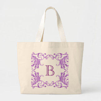 Monogram Lilac Damask Jumbo Tote Bag