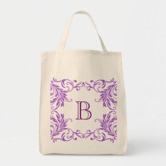 Monogram Lilac Damask Grocery Tote Bag