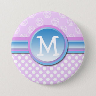 Monogram Lilac Polka Dot 7.5 Cm Round Badge