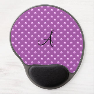 Monogram lilac purple pearl polka dots gel mouse pad