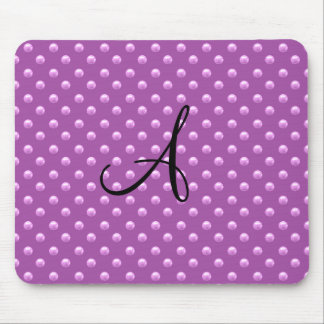Monogram lilac purple pearl polka dots mouse pad