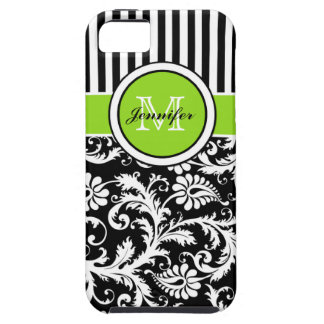 Monogram Lime Black White Striped Damask iPhone 5 Case For The iPhone 5