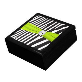 Monogram Lime Black White Zebra Skin Trinket Box