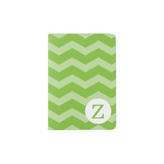Monogram Lime Green Chevron Pattern Passport Holder