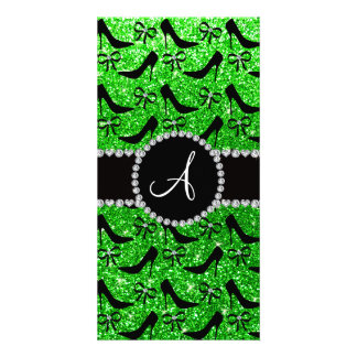 Monogram lime green glitter black high heels bow photo card template