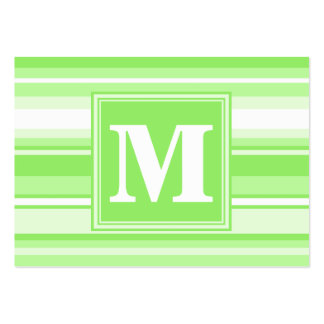 Monogram lime green stripes pack of chubby business cards
