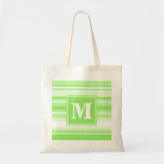 Monogram lime green stripes tote bag