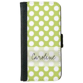 Monogram Lime Green White Trendy Polka Dot Pattern iPhone 6 Wallet Case