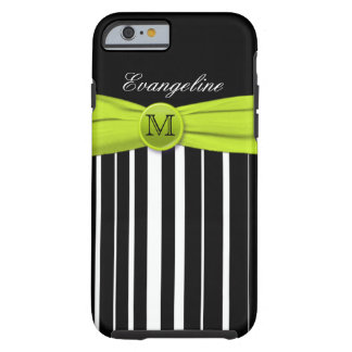 Monogram Lime White Black Striped iPhone 6 case