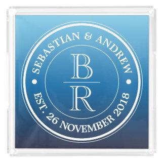 Monogram Logo Blue Ombre Gay Wedding Anniversary