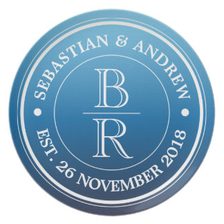 Monogram Logo Blue Ombre Gay Wedding Anniversary Dinner Plates