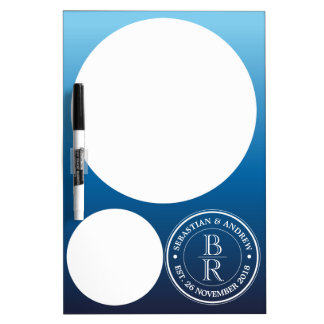 Monogram Logo Blue Ombre Gay Wedding Anniversary Dry Erase Board