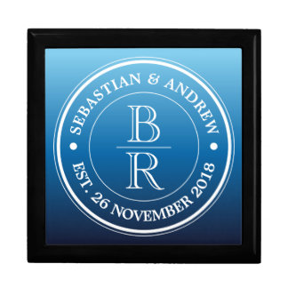 Monogram Logo Blue Ombre Gay Wedding Anniversary Gift Box