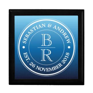 Monogram Logo Blue Ombre Gay Wedding Anniversary Large Square Gift Box