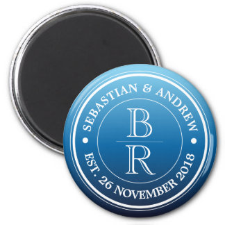Monogram Logo Blue Ombre Gay Wedding Anniversary Magnet