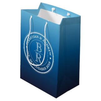 Monogram Logo Blue Ombre Gay Wedding Anniversary Medium Gift Bag