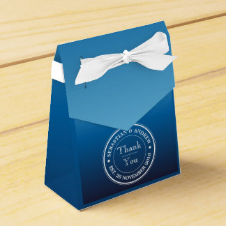 Monogram Logo Blue Ombre Gay Wedding Anniversary Party Favour Box