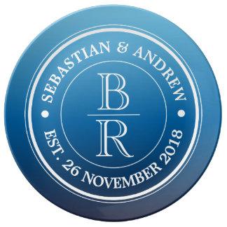 Monogram Logo Blue Ombre Gay Wedding Anniversary Porcelain Plate