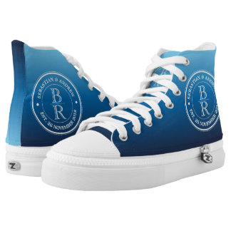 Monogram Logo Blue Ombre Gay Wedding Anniversary Printed Shoes