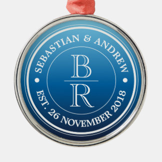 Monogram Logo Blue Ombre Gay Wedding Anniversary Silver-Colored Round Decoration