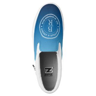 Monogram Logo Blue Ombre Gay Wedding Anniversary Slip On Shoes