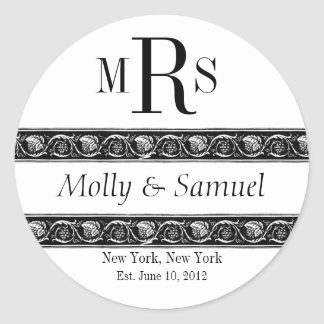 Monogram Logo Ornate Names Date Wedding Label Round Sticker