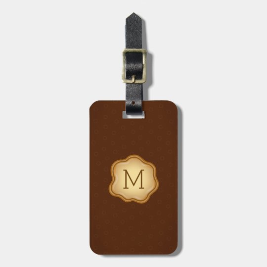 Monogram Luggage Tag - Bronze Ink, Elegant Brown