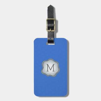 Monogram Luggage Tag - Silver Ink, Elegant Blue