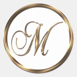 Monogram M Faux Bronze Round Sticker