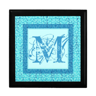 Monogram M Gift Box in Sea Greens and Blues