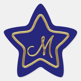 Monogram M in 3D gold Star Sticker