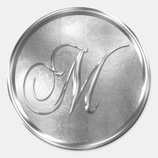 Monogram M NONMETALLIC Silver Envelope Seal Round Sticker