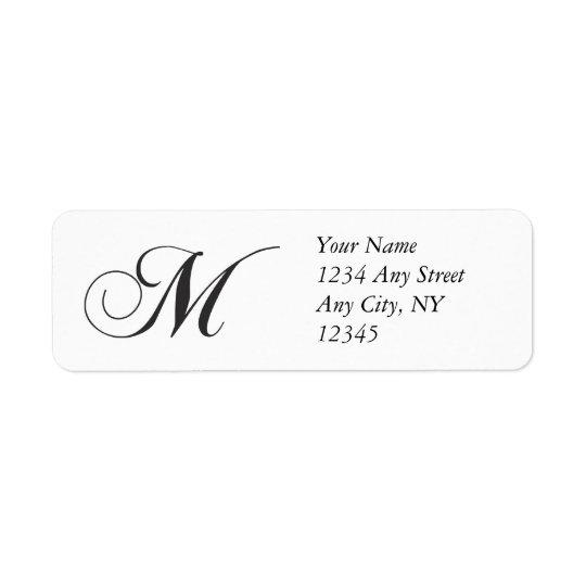Monogram M Return Address Labels