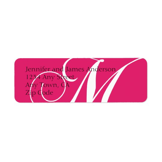 Monogram M Return Address Labels Pink