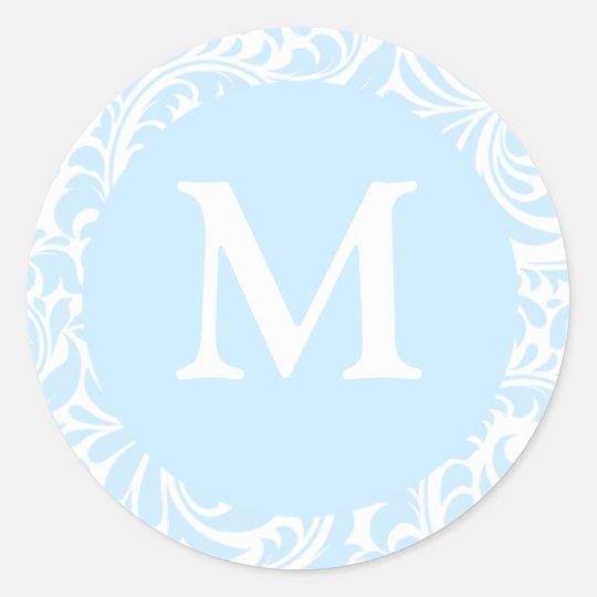 Monogram M Sky Blue And White Wedding Stickers