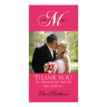 Monogram M Wedding Thank You Photo Cards Fuchsia