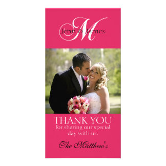 Monogram M Wedding Thank You Photo Cards Fuchsia
