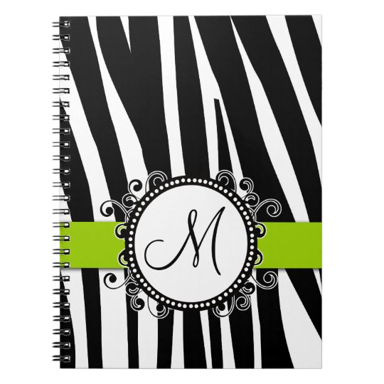 Monogram M Zebra Pattern Green Notebook