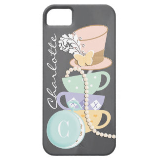 Monogram Mad Hatter Teacups and Hat iPhone 5 Cover
