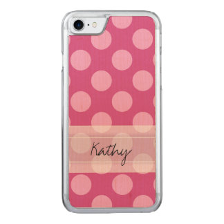 Monogram Magenta Pink Chic Polka Dot Pattern Carved iPhone 8/7 Case