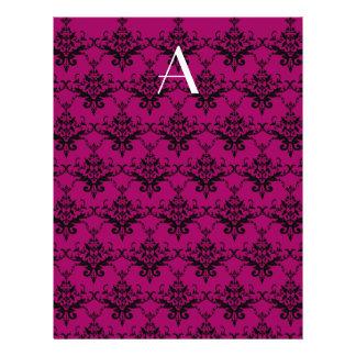 Monogram Magenta pink damask Personalized Flyer