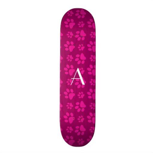 Monogram magenta pink dog paw prints skate decks