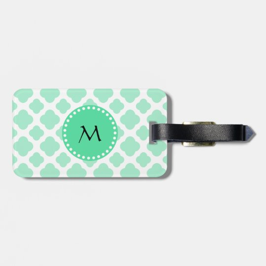 Monogram Magic Mint and White Quatrefoil Pattern Luggage Tag