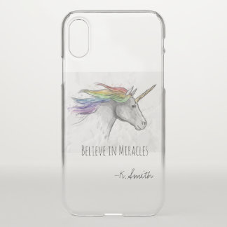 Monogram. Magical Cute Rainbow Unicorn. iPhone X Case